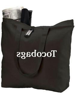 Tocobags 1 Pack Heavy Canvas Large Tote Bag with Zippered Cl