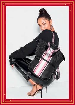 Victoria's Secret 2019 Packable Backpack Tote Bag Black w/P