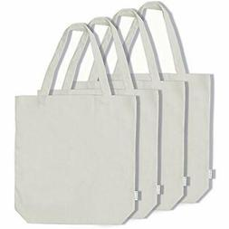 100% Reusable Grocery Bags Cotton Canvas Shopping Tote 4-pac