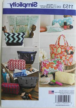 Simplicity 1153 Cosmetic Tote Bags Tissue Cover Various Size
