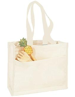 12 PACK - Heavy Canvas Tote Bags in BULK with Side Pocket Fu
