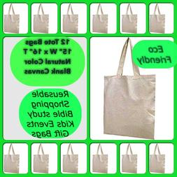 12 Cotton Blank Canvas Bags Reusable Crafts Tote Shopping Gi