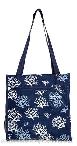 Ever Moda 12 inch Blue and White Seaweed Print Tote Bag