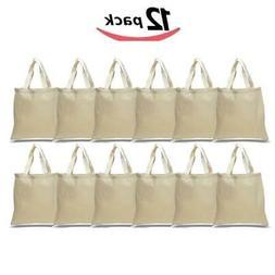 BagzDepot Canvas Tote Bags Wholesale - 12 Pack - Plain Cotto
