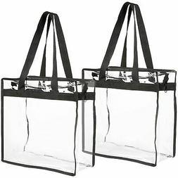 2-Pack Clear Transparent Tote Bag PVC w/Zipper Stadium Appro