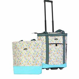 Olympia 2-Piece Rolling Shopper Tote and Cooler Bag, Beach c