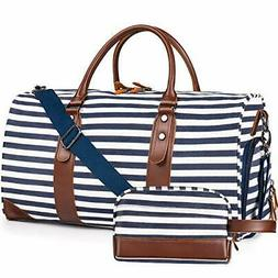 """Oflamn 21"""" 900D Weekender, Leather, Duffle Overnight Travel"""