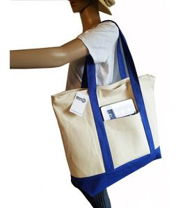 "22/"" LARGE Deluxe Zippered Cotton Canvas Reusable Grocery Shopping Tote Totes Bag"