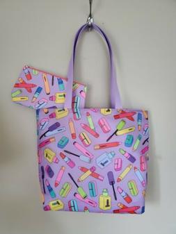2PC  CLINIQUE TOTE BAG SHOPPER SHOULDER BAG & SMALL BAG SPRI