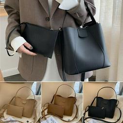 2Pcs Set Women Lady Leather Tote Shoulder Satchel Bucket Bag