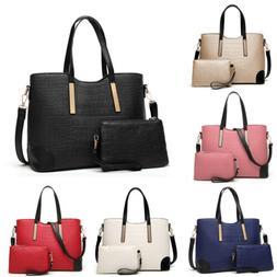 2pcs Women's PU Leather Satchel Purses Handbags Shoulder Tot