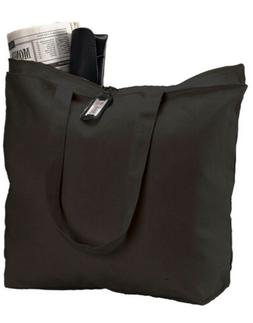 1 Pack Heavy Canvas Large Tote Bag with Zippered Closure, Bl