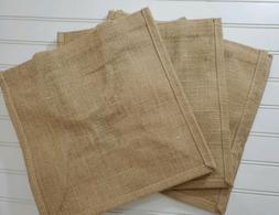 3 Pack Natural Burlap Jute Tote Bag w/Cotton handles Size 12