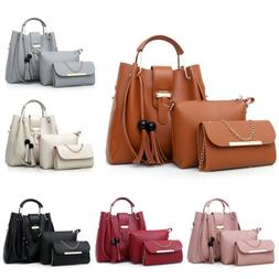 3Pcs/Set Women Leather Handbag Purse Messenger Shoulder Bag