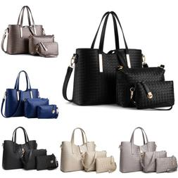 3PCS Women Ladies Leather Handbag Messenger Shoulder Bag Sat