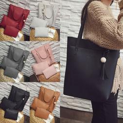 3pcs Women Lady Leather Handbag Shoulder Bags Tote Purse Mes