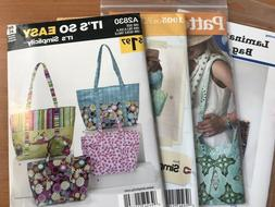 4 New Tote Bag Sewing Patterns 1 for Laminate, 3 for Cloth T