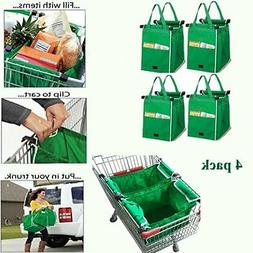 4 Pcs Reusable Grocery Canvas Cart Tote Foldable to Attached
