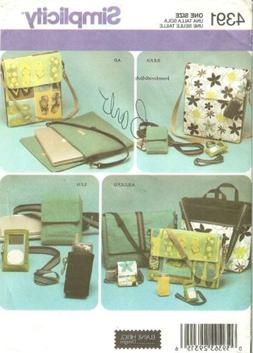 Simplicity 4391 Tote Bags & Accessories Pattern Laptop, Cell