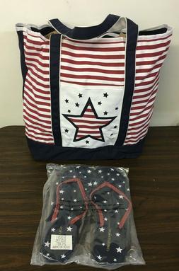 $49 COMFORTVIEW Patriotic Tote Bag & Sz XXL Flip Flop Stars
