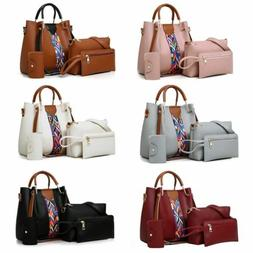 4PCS Set Women Leather Handbag Shoulder Tote Bag Lady Clutch