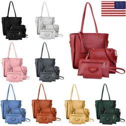 4Pcs/Set Women's Lady Leather Handbag Purse Shoulder Tote Me