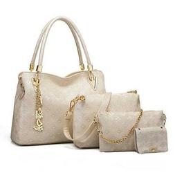 4pcs Women's Leather Handbags Top Handle Shoulder Bag + Tote