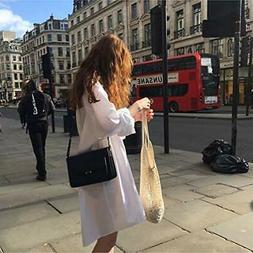 5Pcs Net Cotton String Shopping Bag, Creatiee Reusable Mesh