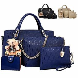 4Pcs/Set Women Lady Leather Handbags Messenger Shoulder Bags