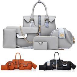 6PCS/Set Women's PU Leather Messenger Shoulder Bag Purse Tot