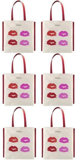 6X LANCOME RED PINK KISS LIPS Canvas IVORY REUSABLE Tote Bag