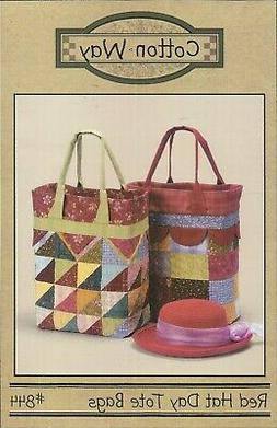 Cotton Way #844 Pattern ~ RED HAT DAY TOTE BAGS ~ Shopping P
