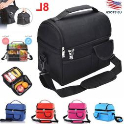 8L Large Insulated Lunch Bag Cooler Picnic Travel Food Box W