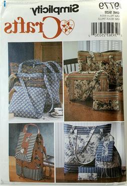Simplicity 9779 Tote Bags Backpack Purse & Cosmetic Bag UNCU