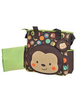 Babyboom Monkey Circles Diaper Tote Bag - brown/lime, one si