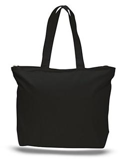 BagzDepot  - Heavy Canvas Large Blank Tote Bags, with Top an