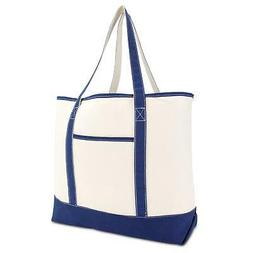 """DALIX 22"""" Extra Large Shopping Tote Bag w Outer Pocket in Na"""