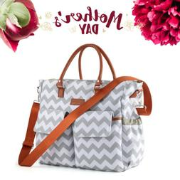 Fashion Chevron Diaper Bag Baby Nappy Tote Bag with Changing