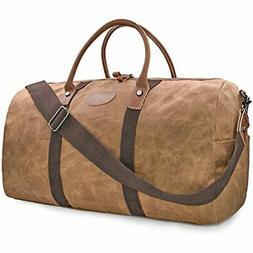 Travel Duffel Bag Waterproof Canvas Overnight Bag Leather We