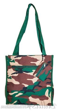 Ever Moda Adorable 12 inch Camo Print Canvas Tote Bag