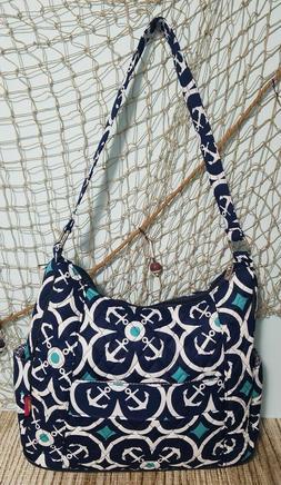Anchor shoulder Bag Tote Quilted Navy White Teal Coastal Bag
