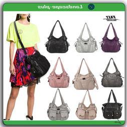 Angelkiss Women Handbags Shoulder Tote Bag  Soft  Washed Lea