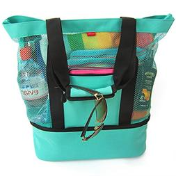 Aruba Mesh Beach Tote Bag, Zipper top, Insulated Cooler & wa
