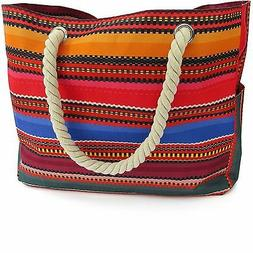 d73ec11f2e Baja Beach Bag Waterproof Canvas Tote - Large Shoulder Bag w