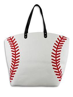 Knitpopshop Baseball Canvas Tote Bag Handbag Large Oversized