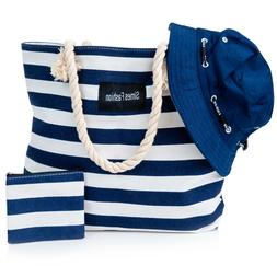 Beach Bag w/Free Bucket Hat,Tote Bag For Women w/Zipper-Canv