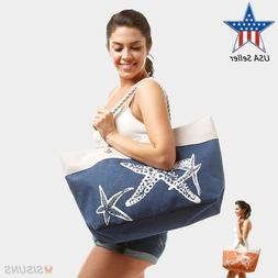 Beach Bags - Large Summer Tote Bags with Zipper Closure Shou
