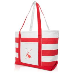 DALIX Beach Ball Striped Tote Bag Canvas Shoulder Bags for W