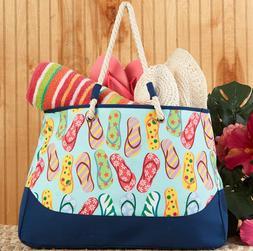Beach Tote Bag Large Flip Flops Design Sewn Soft Woven Handl