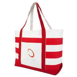 DALIX Beach Tote Bag Shoulder Bags Striped Monogrammed Red B
